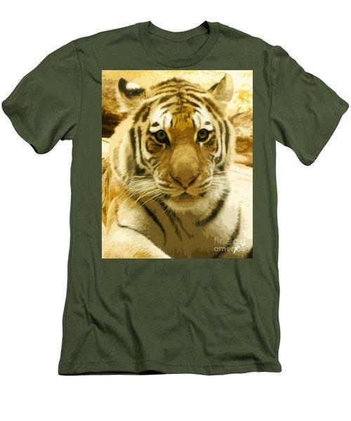 Men's T-Shirt (Slim Fit) featuring the digital art Tiger Eyes by Erika Weber