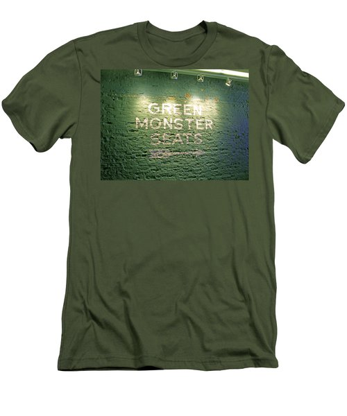 Men's T-Shirt (Slim Fit) featuring the photograph To The Green Monster Seats by Barbara McDevitt