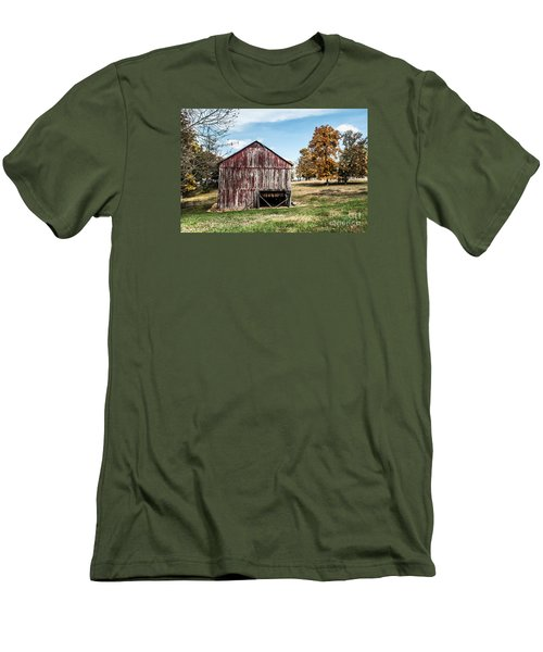 Men's T-Shirt (Slim Fit) featuring the photograph Tobacco Barn Ready For Smoking by Debbie Green
