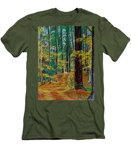 Trail At Wason Pond Men's T-Shirt (Slim Fit) by Sean Connolly