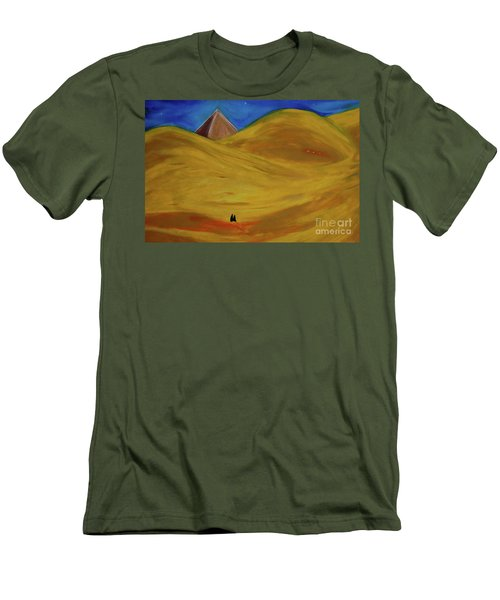Men's T-Shirt (Slim Fit) featuring the drawing Travelers Desert by First Star Art