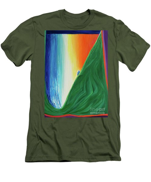 Men's T-Shirt (Slim Fit) featuring the painting Travelers Rainbow Waterfall By Jrr by First Star Art