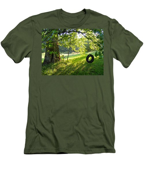 Tree And Tire Swing In Summer Men's T-Shirt (Athletic Fit)
