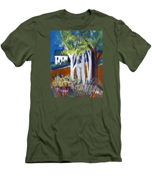 Trees And White Farm House Men's T-Shirt (Slim Fit) by Betty Pieper