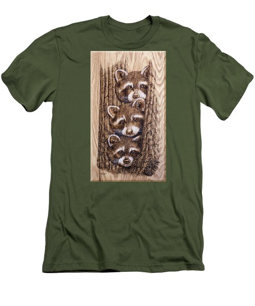 Men's T-Shirt (Slim Fit) featuring the pyrography Tres Amegos by Ron Haist