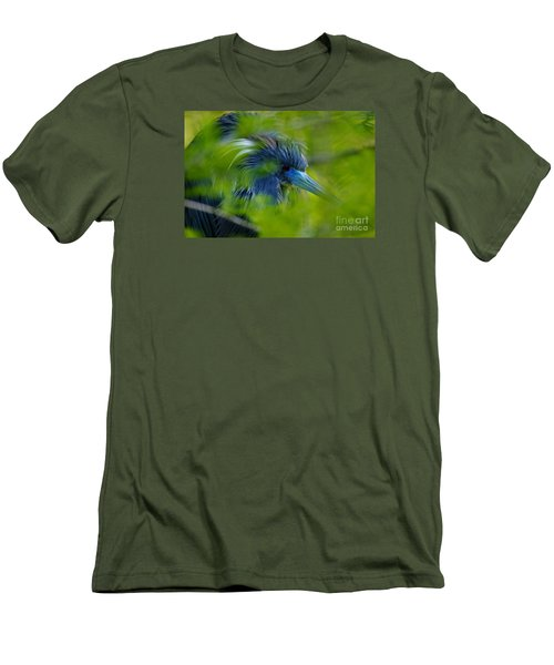 Men's T-Shirt (Slim Fit) featuring the photograph Tri-colored Heron Concealed    by John F Tsumas
