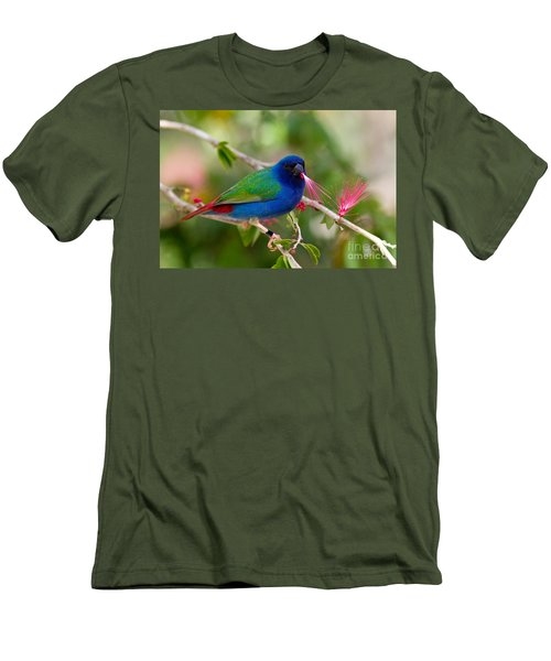 Men's T-Shirt (Slim Fit) featuring the photograph Tricolor Parrot Finch by Les Palenik