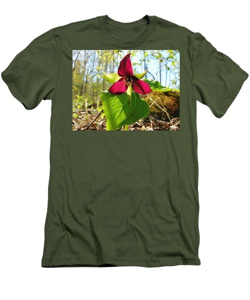 Men's T-Shirt (Slim Fit) featuring the photograph Trillium Wild Flower by Sherman Perry