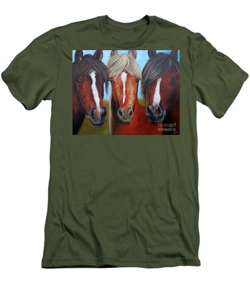 Men's T-Shirt (Slim Fit) featuring the painting Trio by Debbie Hart