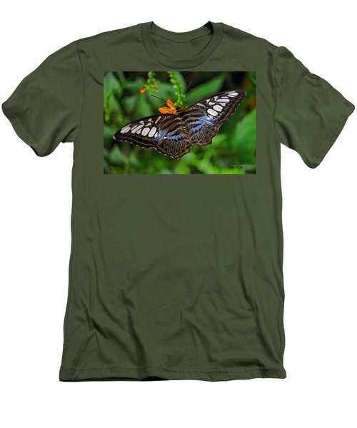 Men's T-Shirt (Slim Fit) featuring the photograph Tropical Butterfly by Marie Hicks
