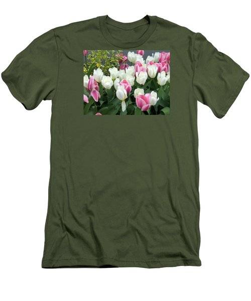 Purple And White Tulips Men's T-Shirt (Slim Fit) by Catherine Gagne