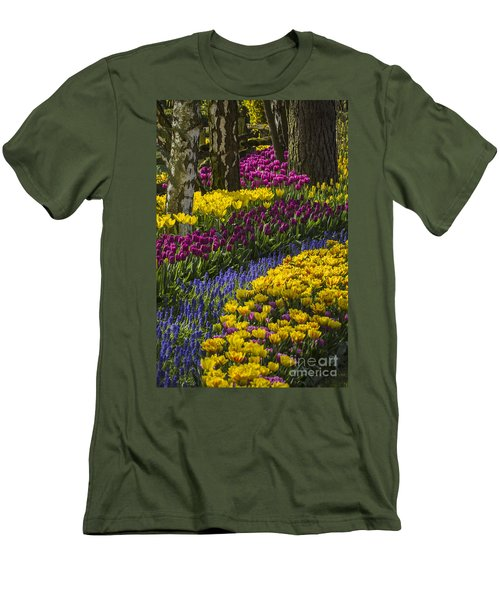 Tulip Beds Men's T-Shirt (Slim Fit) by Sonya Lang