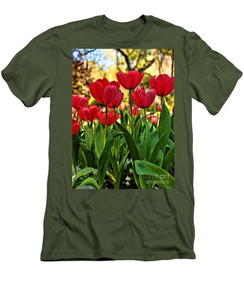 Men's T-Shirt (Slim Fit) featuring the photograph Tulip Time by Peggy Hughes