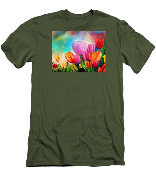Tulipa Festivity Men's T-Shirt (Slim Fit) by Angel Ortiz