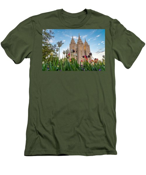 Tulips At The Temple Men's T-Shirt (Slim Fit) by Dustin  LeFevre