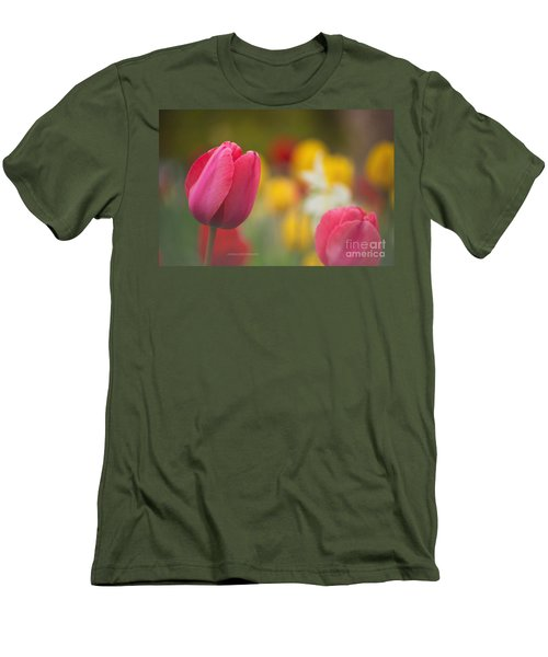 Men's T-Shirt (Slim Fit) featuring the photograph Tulips Blooming by Rima Biswas