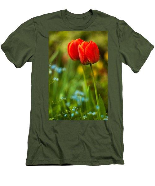 Tulips In Garden Men's T-Shirt (Athletic Fit)