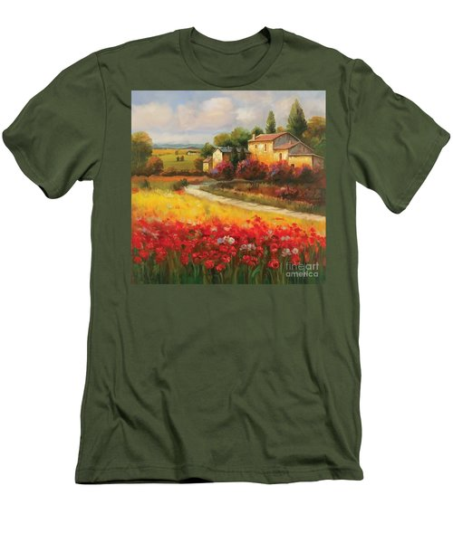 Men's T-Shirt (Slim Fit) featuring the painting Tuscan Villa  by Tim Gilliland