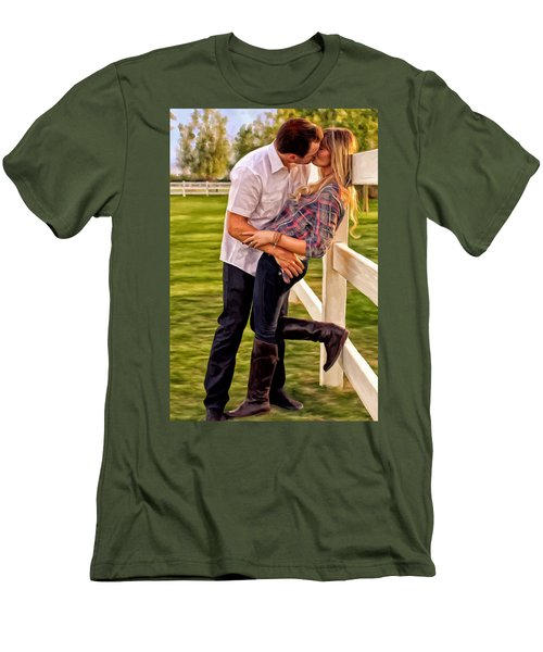 Men's T-Shirt (Slim Fit) featuring the painting Twas Not My Lips You Kissed But My Soul by Michael Pickett