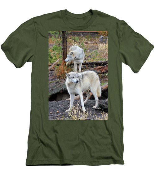 Twin Wolves Men's T-Shirt (Slim Fit) by Athena Mckinzie