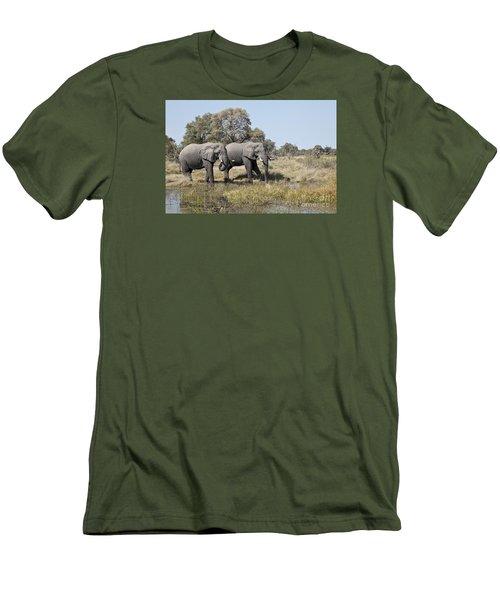 Men's T-Shirt (Slim Fit) featuring the photograph Two Bull African Elephants - Okavango Delta by Liz Leyden