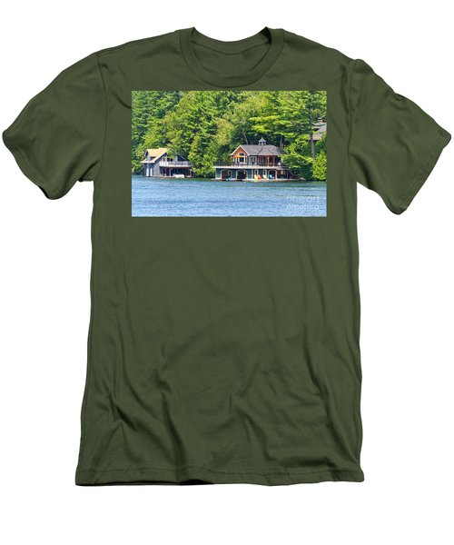 Two Luxury Boathouses Men's T-Shirt (Slim Fit) by Les Palenik