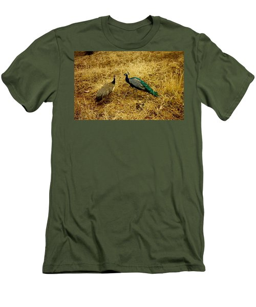 Men's T-Shirt (Slim Fit) featuring the photograph Two Peacocks Yaking by Amazing Photographs AKA Christian Wilson