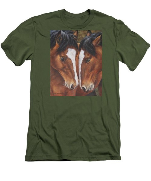 Men's T-Shirt (Slim Fit) featuring the painting Unbridled Affection by Kim Lockman