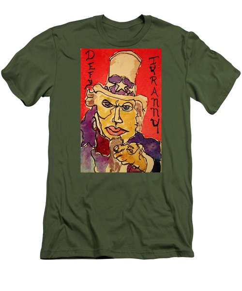 Men's T-Shirt (Slim Fit) featuring the painting Uncle Sam Defy Tyranny by Rand Swift