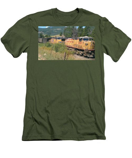 Men's T-Shirt (Slim Fit) featuring the photograph Union Pacific 6587 by Fortunate Findings Shirley Dickerson
