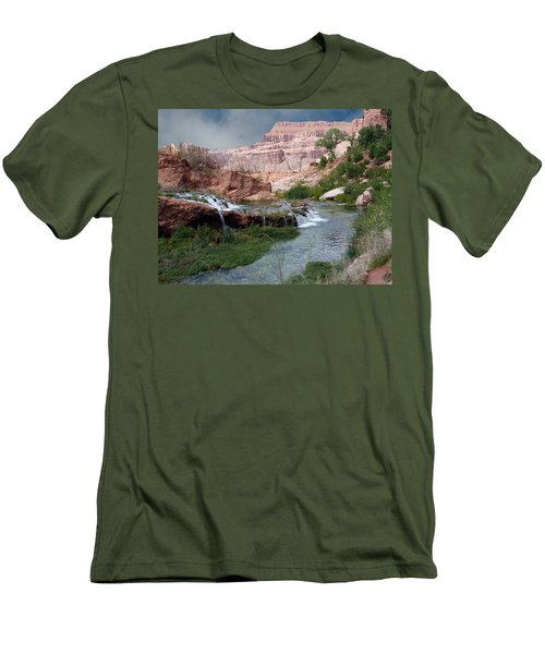 Unspoiled Waterfall Men's T-Shirt (Athletic Fit)
