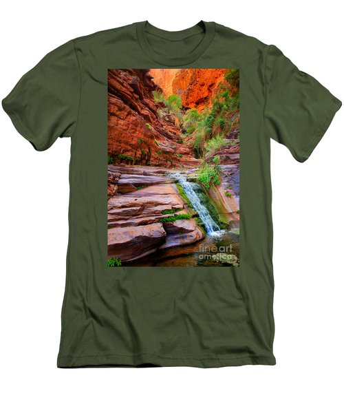 Upper Elves Chasm Cascade Men's T-Shirt (Slim Fit) by Inge Johnsson