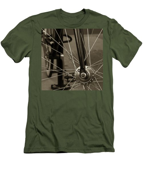 Men's T-Shirt (Slim Fit) featuring the photograph Urban Spokes In Sepia by Steven Milner