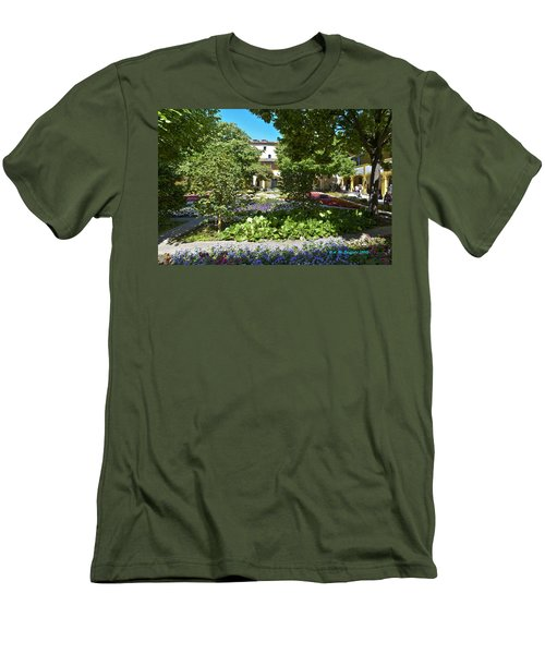 Men's T-Shirt (Slim Fit) featuring the photograph Van Gogh - Courtyard In Arles by Allen Sheffield