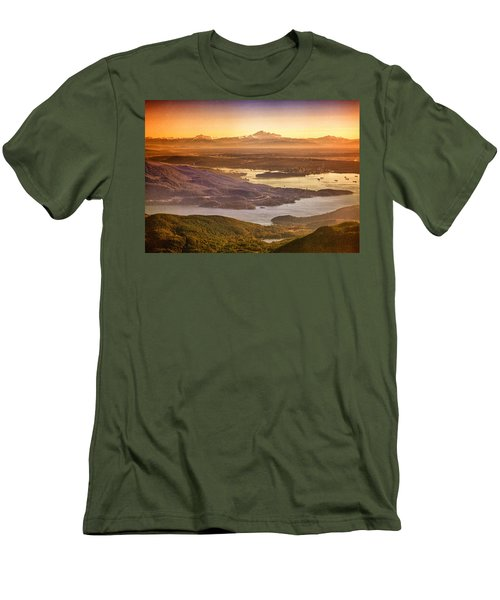 Vancouver And Mt Baker Aerial View Men's T-Shirt (Slim Fit) by Eti Reid