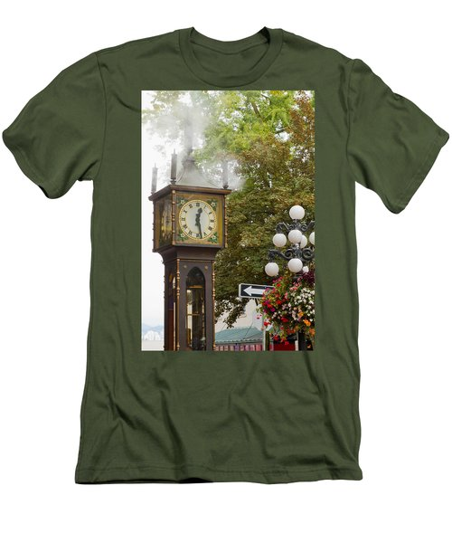 Men's T-Shirt (Slim Fit) featuring the photograph Vancouver Bc Historic Gastown Steam Clock by JPLDesigns
