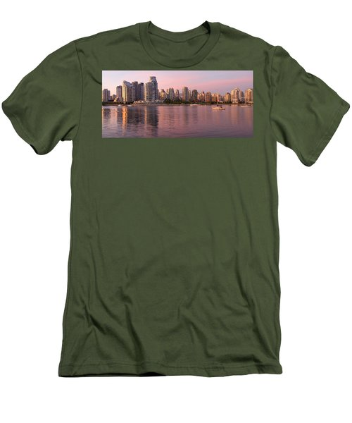 Men's T-Shirt (Slim Fit) featuring the photograph Vancouver Bc Skyline Along False Creek At Dusk by JPLDesigns