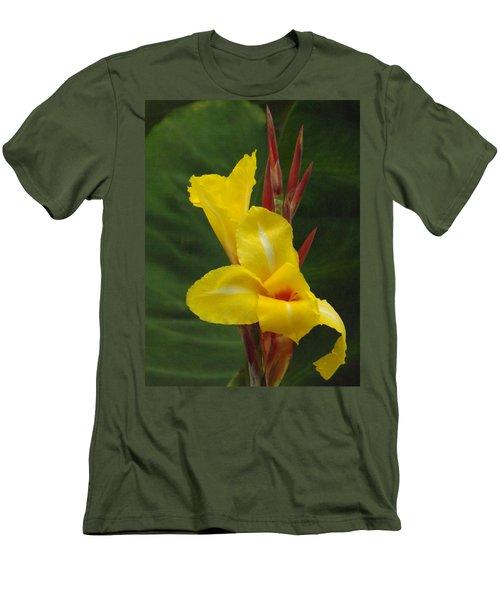 Velvety Yellow Iris  Men's T-Shirt (Slim Fit) by Brenda Brown