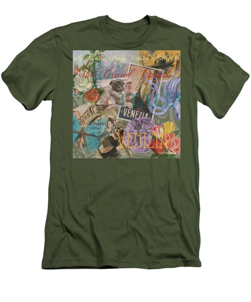Venice Vintage Trendy Italy Travel Collage  Men's T-Shirt (Athletic Fit)