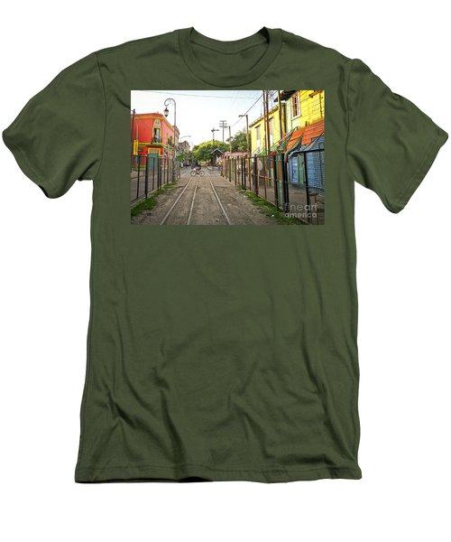 Vias De Caminito Men's T-Shirt (Slim Fit) by Silvia Bruno