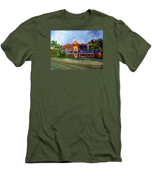 Vic And Angelos In Downtown Delray Beach Men's T-Shirt (Slim Fit) by Donna Walsh