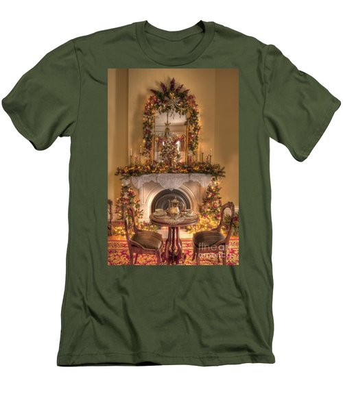 Victorian Christmas By The Fire Men's T-Shirt (Athletic Fit)