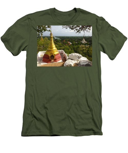 Men's T-Shirt (Slim Fit) featuring the photograph View Over Ancient City Of Mandalay Aungmyaythazan From Mandalay Hill Mandalay Burma by Ralph A  Ledergerber-Photography