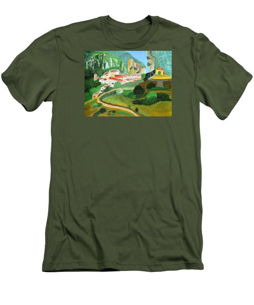 Men's T-Shirt (Slim Fit) featuring the painting Village In The Mountains  by Magdalena Frohnsdorff