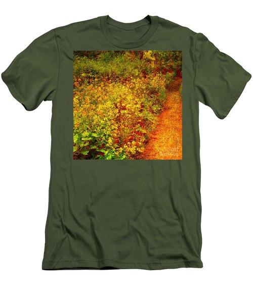 Men's T-Shirt (Slim Fit) featuring the photograph Vintage Garden Path by Terri Gostola