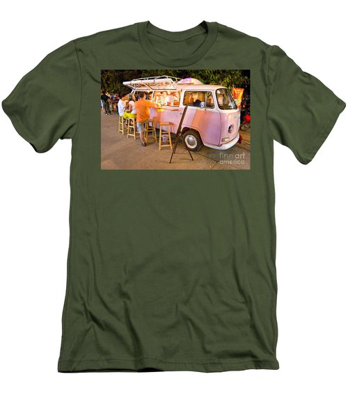 Vintage Pink Volkswagen Bus Men's T-Shirt (Slim Fit) by Luciano Mortula