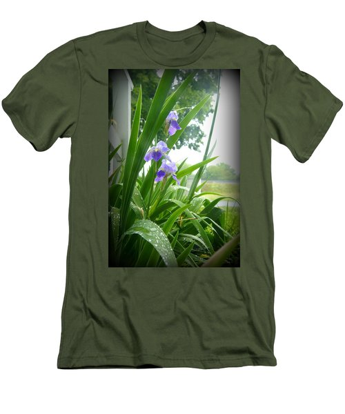 Men's T-Shirt (Slim Fit) featuring the photograph Iris With Dew by Laurie Perry