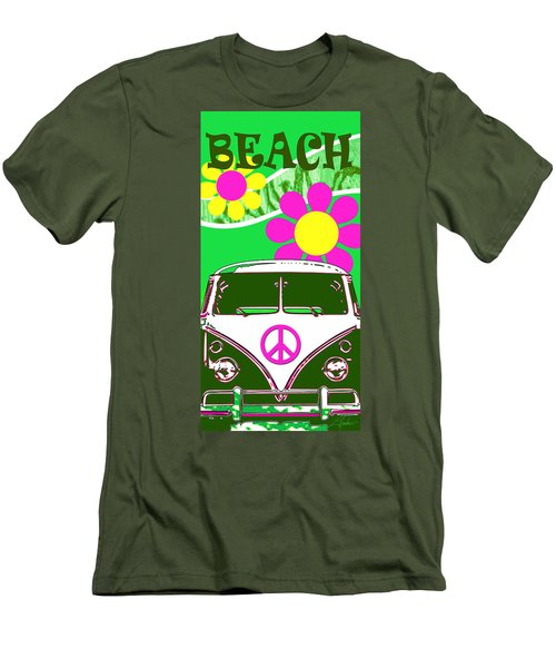 Vw Beach  Green Men's T-Shirt (Athletic Fit)