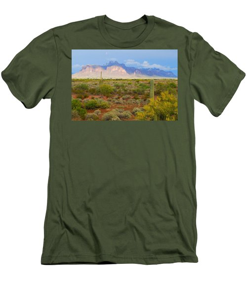 Men's T-Shirt (Slim Fit) featuring the photograph 16x20 Canvas - Superstition Mountain Light by Tam Ryan