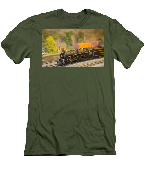 Men's T-Shirt (Slim Fit) featuring the photograph Waiting Model Train  by Patrice Zinck